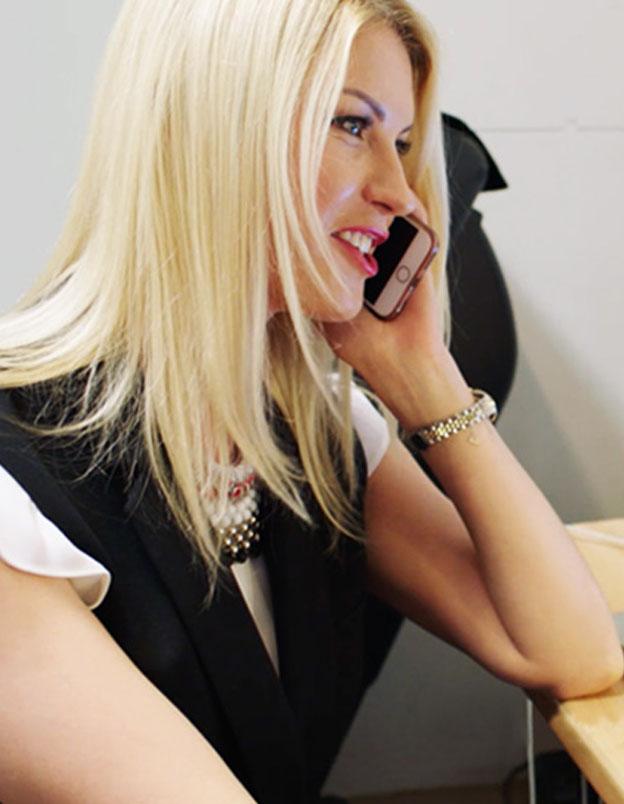 Anna talking on phone